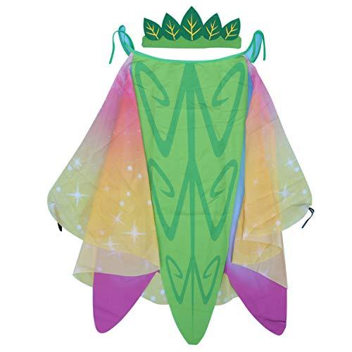 Kopfbedeckung Schmetterling Kostüm - Amosfun 1 Set Party Nymphen Kostüm Schal Fee Schmetterling Cosplay mit Kopfbedeckung