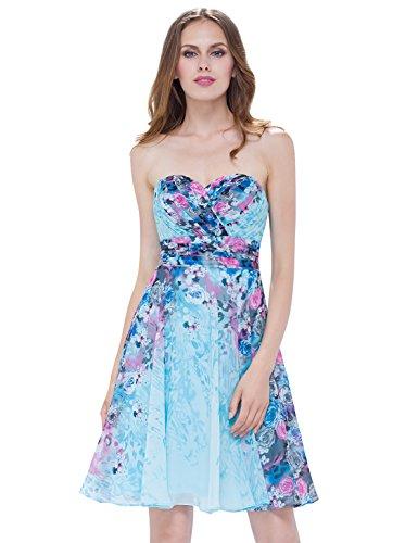 Ever Pretty Robe Bustier de Soirée de Bal Floral Imprimée Au genoux 05498 Bleu ciel