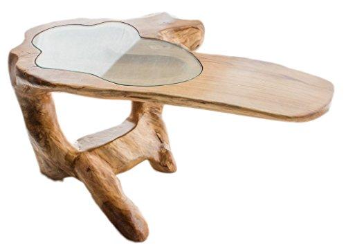 Mesa de centro con Tablero de Cristal y corte de tronco de árbol