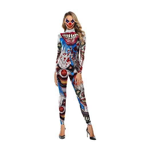 Kostüm Skelett Frauen Süßes - Damen Skelett Halloween Kostüm Body mit Rückendruck - Cosplay 3D Horror Sexy Skelett Kostüm Overall Weiblich,Clown,L