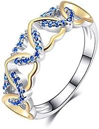 7a05ce4569e9 WL Anillo Plateado Adornos Tres Anillos De Amor De Corazón De Circonio  Cúbico Coloreado Romántico para