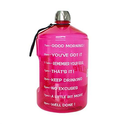 ess-Wasserflasche 2.2 Liter BPA Frei Wiederverwendbare Sport-Wasserflasche großes Fassungsvermögen, mit Griff, für Fitnessstudio, Reise, Sport Hot Pink ()