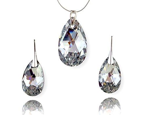 Crystals & Stones Juego de joyas de Plata de ley 925, set con cristale