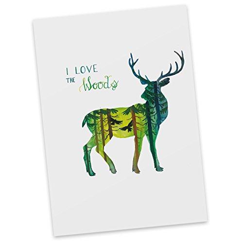Mr. & Mrs. Panda Postkarte Hirsch I Love The Woods - Wald, Woods, Hirsch, Postkarte, Geschenkkarte, Grußkarte, Karte, Einladung, Ansichtskarte, Sprüche
