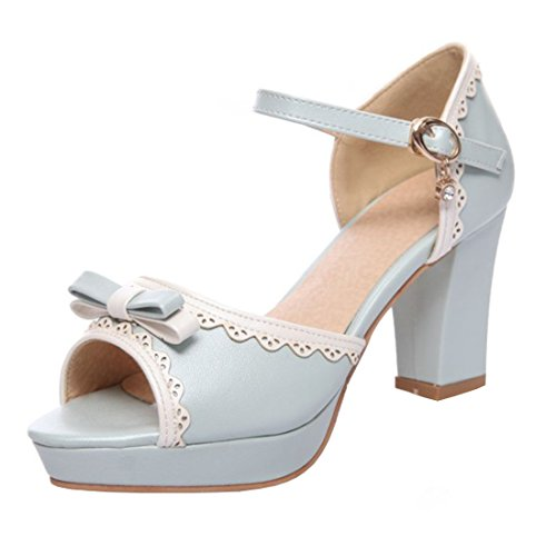 YE Damen Ankle Strap Rockabilly Sandalen Blockabsatz Peep Toe High Heels mit Schnalle und Schleife Süß Schuhe (Ankle Toe Peep Strap)