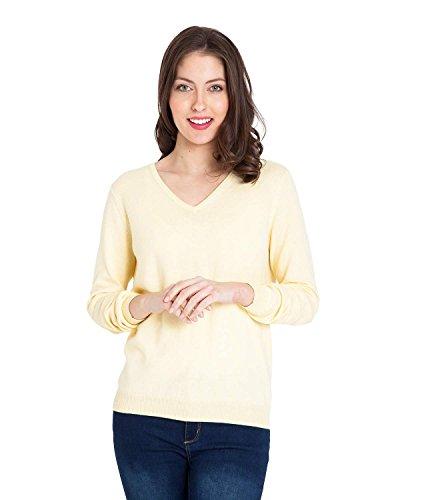 WoolOvers Pullover mit V-Ausschnitt aus Kaschmir und Baumwolle für Damen Lemon, L (V-ausschnitt Damen Kaschmir-pullover)