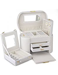 Rowling Faux Leather Jewellery/Watch box Jewelry Storage Display Case ZG152 (White)