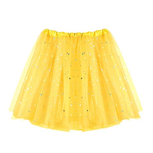 WOZOW Tüllrock Damen Einfarbig Sterne Minirock Umfang Tanzkleid Multi-Schichten Crinoline Unterkleid Party Halloween Karneval Kostüm Frauen (50-110,Gelb)