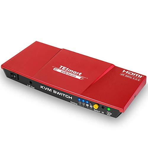 TESmart 2fach-HDMI-KVM-Switch – 4K-Ultra-HD mit 3840 x 2160 bei 60 Hz 4:4:4;2 Stck 5ft/1,5m KVM-Kabel unterstützt USB-2.0-Gerätebedienung bis max. 2 Computer/Server/DVR (Rot) (Server Computer)