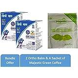 Deemark Ortho Balm 50 Gm - 2 Balm & Majestic Green Coffee 3 G - 1 Sachet