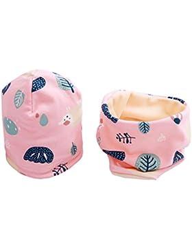 Boomly Baby Kinder Winter Beanie Mütze Hut Warm Loop Schal Set Baumwollschal Halsbänder Hut Velvet-Futter Nackenwärmer...