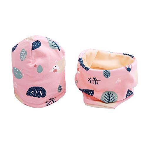 Boomly Baby Kinder Winter Beanie Mütze Hut Warm Loop Schal Set Baumwollschal Halsbänder Hut Velvet-Futter Nackenwärmer Schal Bandana Hut (Rosa, 7-36 Monate altes)