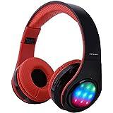 Ecandy Bluetooth para auriculares con 3 Modo Luz Led estéreo de música plegable Sobre-oído sonido de alta fidelidad, construido en llamadas inalámbricas micrófono de manos libres para Iphone X 8 7 6S 6S, 6S Plus de Samsung, Android smartphone, tablet PC, MAC y Portátil (rojo led)