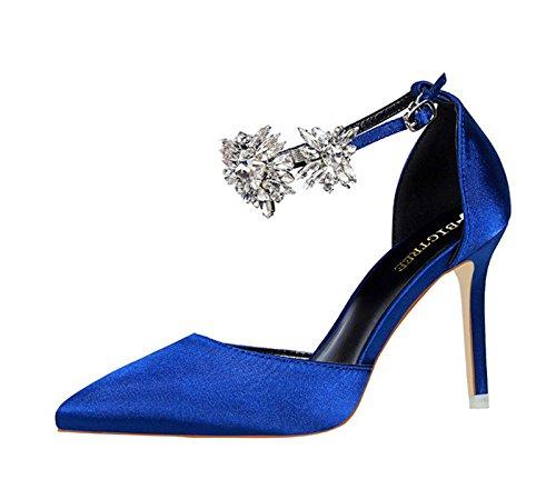 XINJING-S Strass Schnalle High Heels Schuhe Party Hochzeit Frauen Pumps Heels Kleidung Schuhe Blau