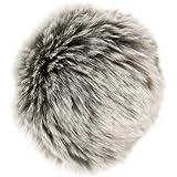 Pompón piel sintética–Color GRIS de plata 027–Diámetro 10Cm–para individuales Designs.
