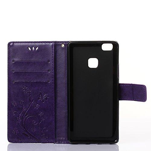Meet de Case pour Apple iPhone 6 Plus / iphoen 6S Plus (5,5 Zoll) PU Housse, papillon print / Folio Wallet / flip étui en cuir / Pouch / Case / Holster / Wallet Style de Coque pour téléphone portable  pourpre