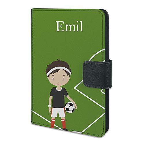 CreaDesign, TAB-7-1011, Tablet Hülle Kinder Fußballspieler 7 Zoll universal mit Wunsch-Namen, Kunst-Leder schwarz, 14,8 x 21,8 x 2 cm