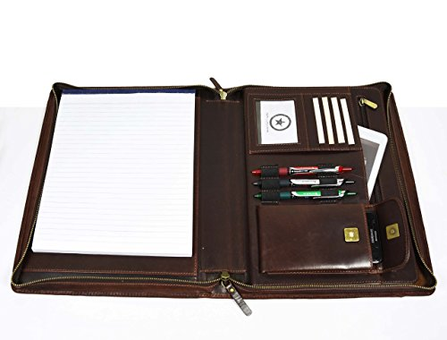 Premium Genuine Leather Business Portfolio and Professional Organizer, With a Zippered Closure,Dark Brown, By Aaron Leather