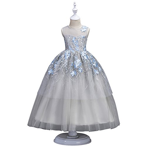 Wulide Kinder Mädchen Prinzessin Kleid Festkleid mit Blumen, Blau, Gr.170/176(Herstellgröße:180)