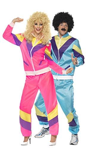 Fancy Me Paar Damen & Herren 80s Jahre 1980s Jahre Schalen-Anzug Trainingsanzug Retro Höhe der Mode 118 118 Liverpooler Hen tun Stag Kostüm Outfit - Mehrfarbig, Ladies UK 20-22 & Mens XL