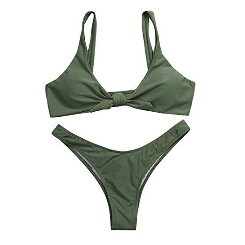 Mose Women's Tie Knot Front Low Waist Thong Bandage 2Pcs Bikini Sets Beachwear Medium Army Green