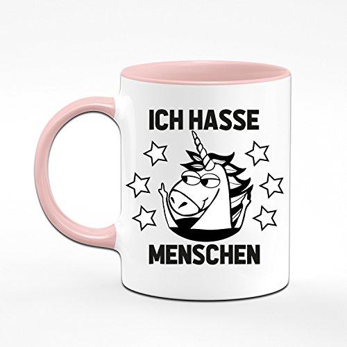 Einhorn Tasse Ich Hasse Menschen - Kaffeetasse in rosa - witzige Tassen mit Sprüchen - lustige Tasse - Geschenk für Kollegin - pink - 2