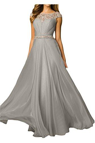 Gorgeous Bride Hochwertig A-Linie Lang Rundkragen Chiffon Tuell Abendkleider Festkleid Ballkleid Grau