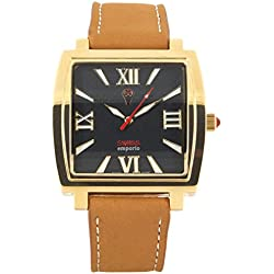 Swiss Emporio Men's Quartz Swiss Made Watch with Black Dial Analogue Display and Brown Leather Strap SE04BKGL10