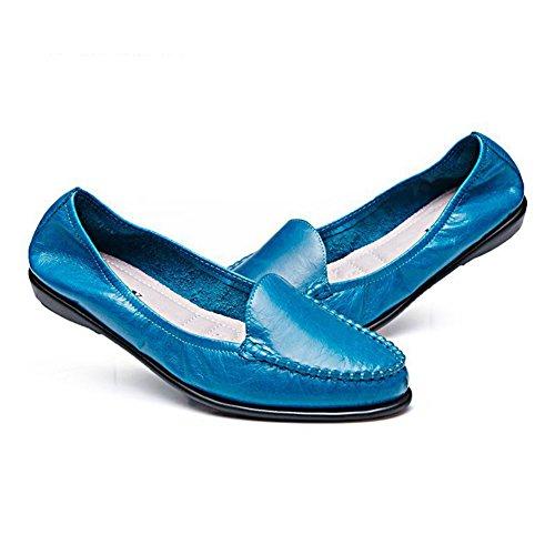 Sohle Sommer Low rutsche Weich Blau Soft Leder Bequeme Anti Freizeitschuhe Damen Slip On top qnzYv8wC4x