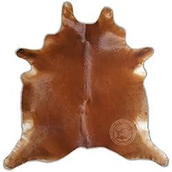 Sunshine Cowhides Alfombra DE Piel DE Vaca - Tamaño: 190 x 180 cm 100% Natural - Color Marrón - Marca Pieles del Sol
