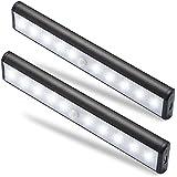 Moston 10 LED USB Recargable magnético Movimiento Sensor Luces nocturnas,oscuridad a amanecer Célula fotoeléctrica incluido Auto en/apagado Portátil Sin cable,palo en cualquier sitio para armario Armario.(Pack de 2,Negro)