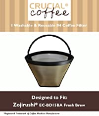 Washable & Reusable Coffee Filter #4 Cone Fits Zojirushi EC-BD15BA Fresh Brew Thermal Carafe Coffee Maker, Designed & Engineered by Crucial Coffee