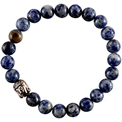 Aatm Reiki Energized Gift Natural Gemstone 7-8mm Round beads Buddha Beaded Sodalite Gemstone Chakra Stretch Bracelet Unisex for Healing