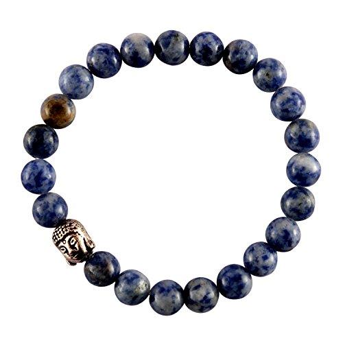 Bracciale energizzante reiki aatm reiki con pietre preziose naturali, perline rotonde da 7-8mm, in sodalite con una pietra in rilievo a forma di buddha, per il distendimento dei chakra, bracciale unisex per la guarigione, con pietra di idealismo e verità