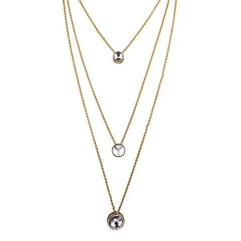 Lux Accessoires Doré Multi Rangs Cristal Pendentif Cercle Collier