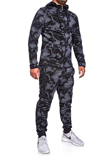 MT Styles ensemble pantalon de sport + sweat-Shirt jogging survêtement R-739 [noir, M]