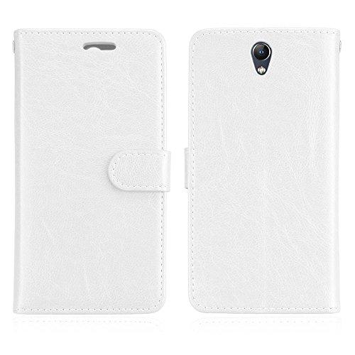 Cozy Hut Lenovo Vibe S1 Hülle Case Premium PU Leder Schutztasche [3 Card Slots Wallet Case] [Magnetverschluss] [Standfunktion] Handyhüllen Für Lenovo Vibe S1 - Reines Weiß