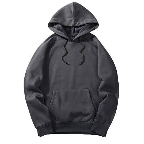 UJUNAOR Herren Langarm Hoodie T-Shirt Kapuzenshirt Mit Kapuze Männer Pullover in Vielen Farben(Dunkelgrau,XL) -