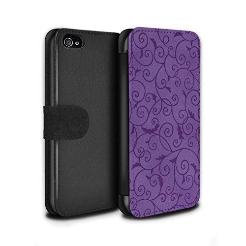 Stuff4 Coque/Etui/Housse Cuir PU Case/Cover pour Apple iPhone 4/4S / Orange Design / Motif de la vigne Collection Pourpre