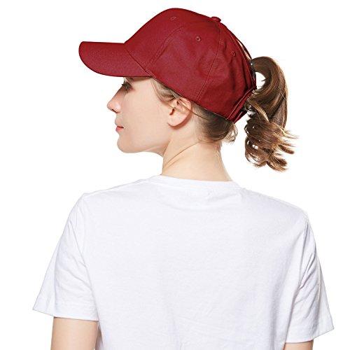 Welrog Dame Baseball Kappe Hip-Hop-Hut (Weinrot)