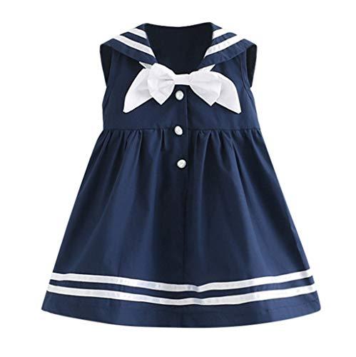 YWLINK MäDchen Süß Kleidung ÄRmellos Marine Bowknot Revers Party Prinzessin Kleider Mit ()