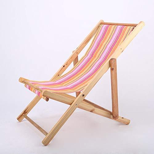 Paresseux Chaise de plage en bois massif Chaise longue de balcon Bureau Siesta Chaise Fauteuil inclinable en plein air Toile Jardin (Couleur : A)