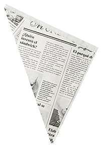 Fackelmann 49346 Cornets pour Frites Papier Noir/Blanc 18 x 25 cm Lot de 10