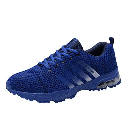 Skxinn Unisex Sneakers Fitnessschuhe Leicht Schnürschuhe Atmungsaktive Casual Herren Mode Turnschuhe Sportliche Basketball-Laufschuhe Wanderschuhe für Damen Gr 35-47(Blau-1,39 EU)
