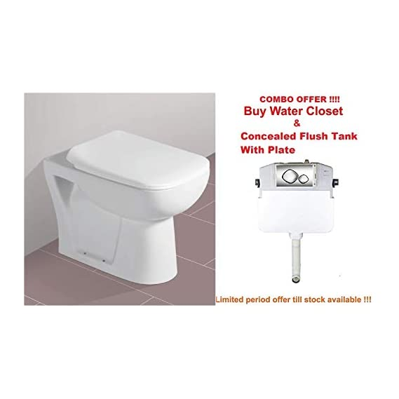 Combo Offer Concealed Cistern Tank & Ceramic Floor Mounted European Water Closet/Western Toilet Commode/EWC S Trap with Slim Hydraulic Soft Close Seat Cover 54cm x 35cm x 41cm - White