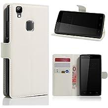 avidet DOOGEE X5Max Pro móvil–Alta calidad PU Funda de piel estilo libro with Kickstand Card Holder Para DOOGEE X5Max Pro blanco blanco