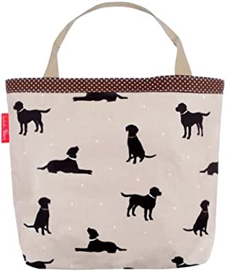 A Large Black Labradors On Taupe with White Polka Dots Shabby Vintage Chic Oilcloth Shopping Bag