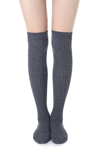 ABaowedding Damen Strumpfhose, Wintersocken, Häkeln, lange Beinwärmer über dem Knie für Stiefel - Grau - Einheitsgröße (Socken Größe Plus Knie Hoch)