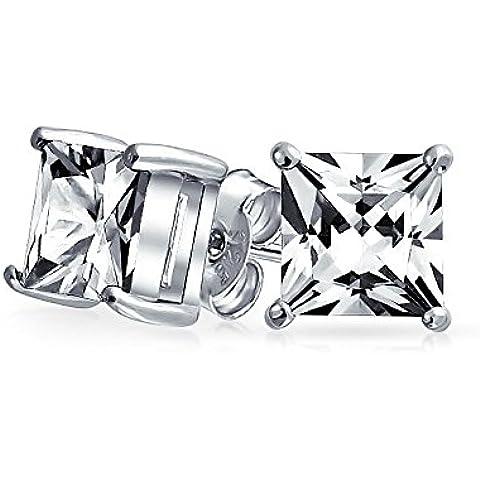Bling Jewelry Mens Piazza CZ della principessa Cut Orecchini argento 925 9 millimetri