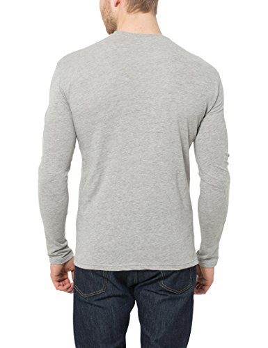Lower East Herren Langarmshirt mit Rundhals-Ausschnitt, in Verschiedenen Farben 5er Pack Weiß/Schwarz/Grau/Blau/Grün